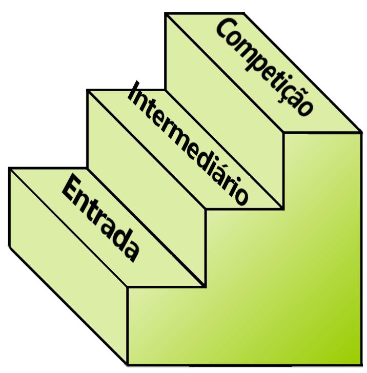 Ilustração níveis de bicicleta: entrada, intermediária e competição