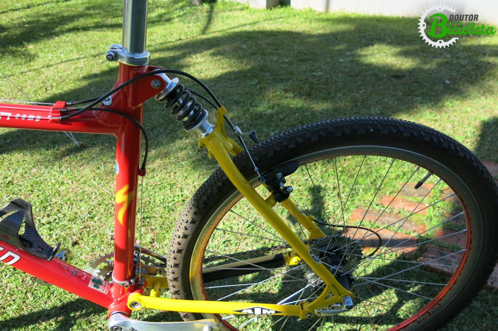 Note o triângulo traseiro, todos os links, reforçados para oferecer resistência à bike