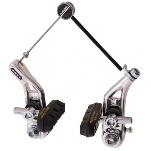 Sistema de freio cantilever: hastes são acionadas por meio de cabo que é puxado quando os manetes são movimentados