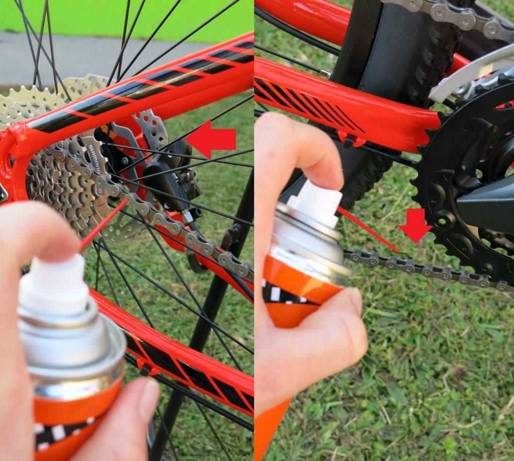 Esquerda: spray será projetado em direção do disco, podendo contaminá-lo. À Direita, forma correta de aplicação do spray, na parte interna da corrente, fora do caminho de outros componentes.